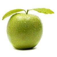 Green apple white background